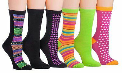 Tipi Women's 6-Pairs Colorful Funky Patterned Crew Dress Socks
