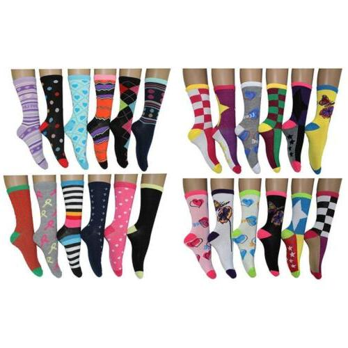 Women's Colorful Patterned Fashion Crew Socks Frenchic Solid