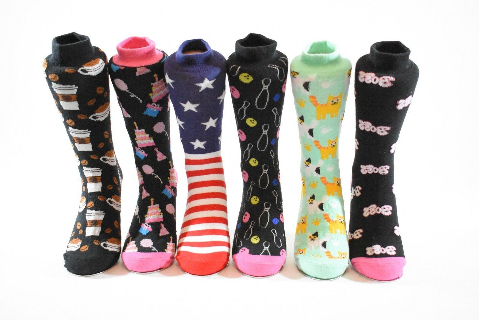 Women's Socks Dice, Clover, Flag, Lips, 4-10
