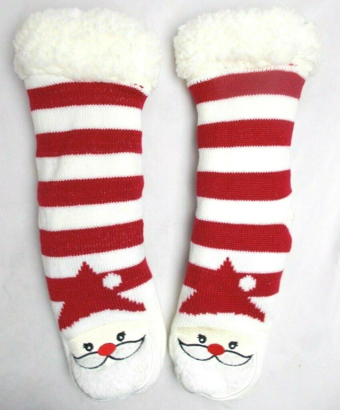 Charter Club Women's House Slipper Socks Santa Striped Fleec