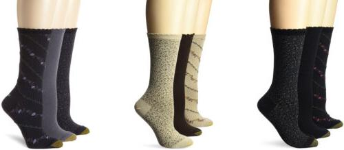 Gold Toe Women's Plus-Size Crew Socks, Assorted Colors, 3 Pa