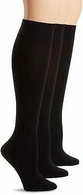 HUE Women's Soft Opaque Nylon blend Knee High Socks