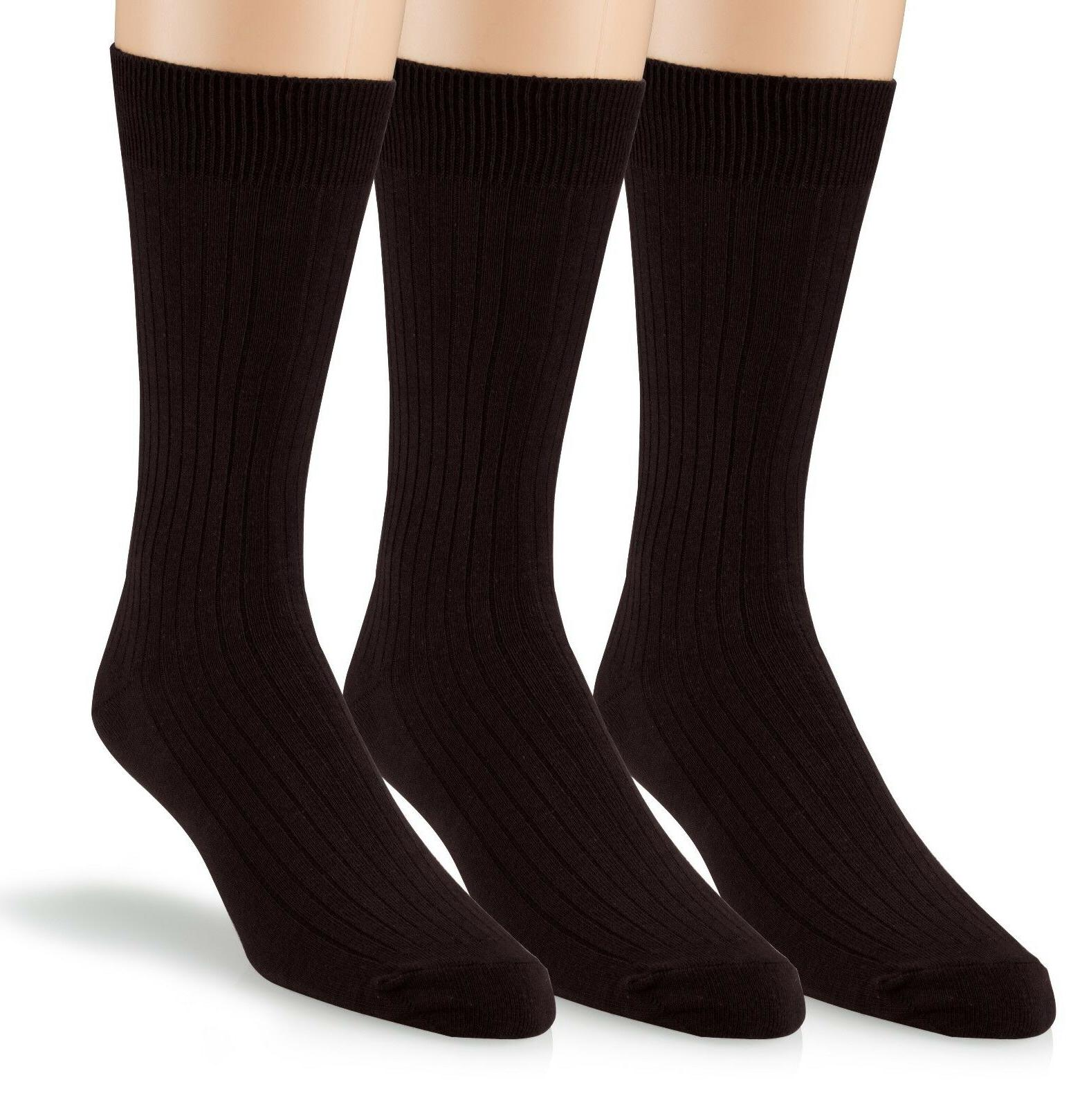 Women's Soft Ribbed Cotton Knit Crew Dress Socks 3-Pack, Plu