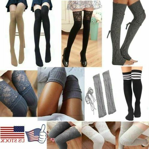 Women's Striped Thigh High Socks Sheer Over The Knee Plus Si