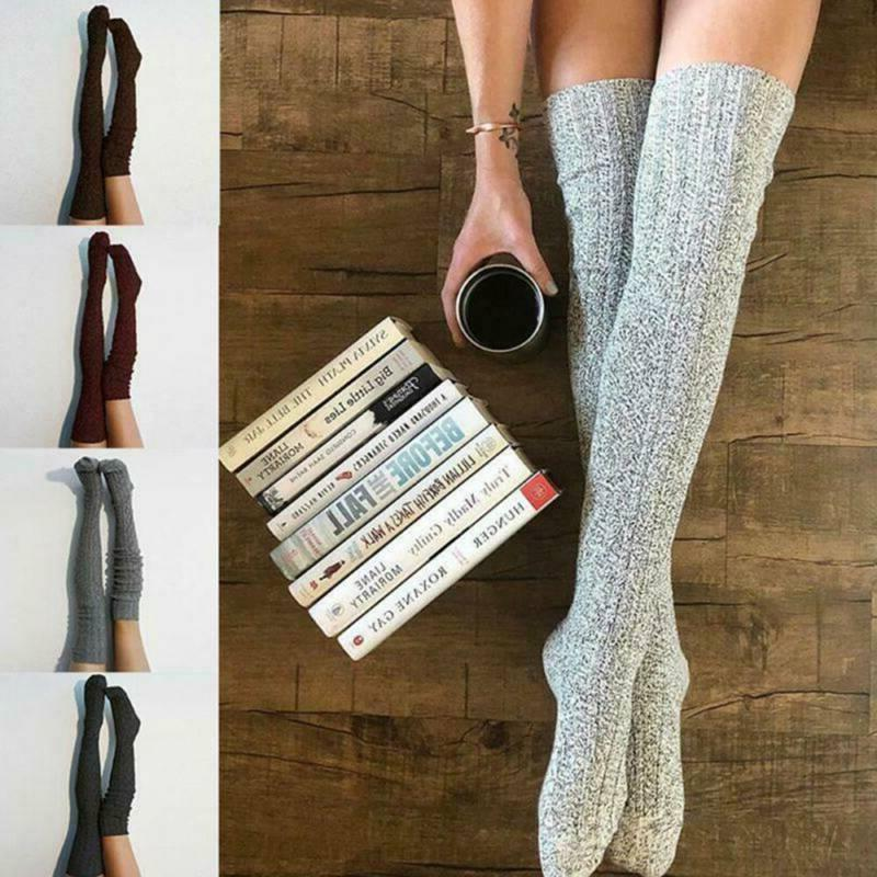 Women Soft Winter Cable knee Long Thigh Socks