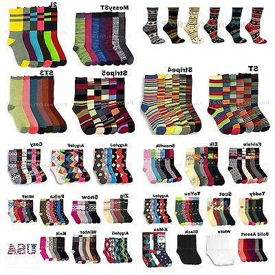 Women Teen Fashion Crew Socks Pattern Argyle Stripe Casual