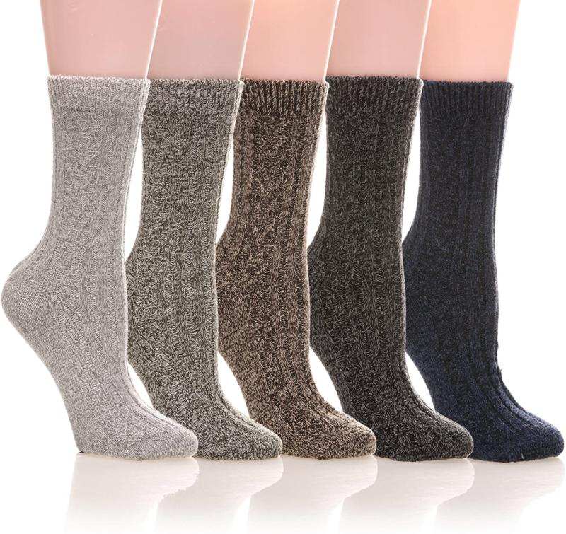 Womens 5 Pairs Soft Thick Comfort Casual Cotton Warm Wool Cr