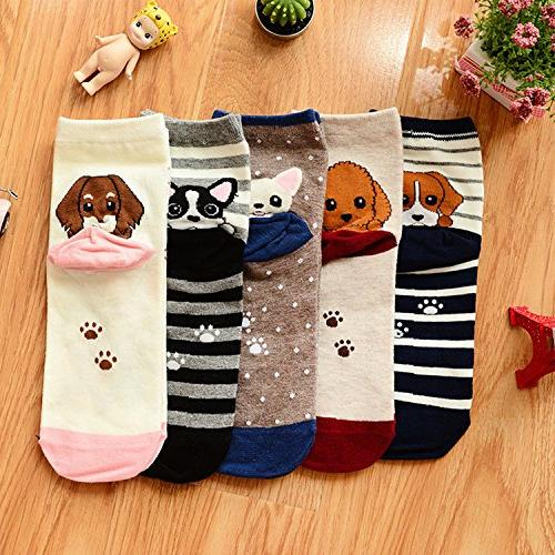Womens Cute Socks, Funny and Cool 100% Cotton Art Socks for Mix Color Size