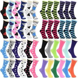 Lot 12 Pairs Cotton Womens Girl Argyle Stripe School Casual