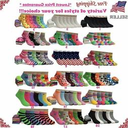 Lot 6-12 Pairs Womens Assorted Styles Low Cut Ankle Socks Co