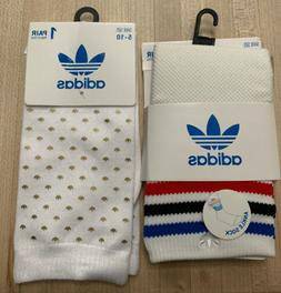 Lot Adidas Originals Women's  Ankle Sock 2 Pair White  Gold