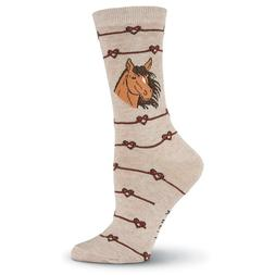 Love Knot Horse K Bell Trouser Crew Socks Oatmeal New Women