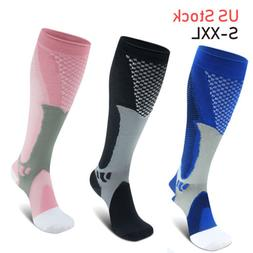 Mens Women Sports Knee High Leg Compression Socks For Runnin