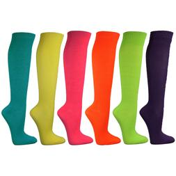 Neon Solid Ladies Colorful Variety Assorted Knee High Stocki