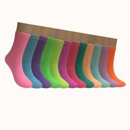 New 12 Pairs Dozen Womens Solid Candy Color Crew Socks Cotto