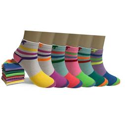 New 6 12 Pairs Womens Tiger Multi Color Low Cut Ankle Socks