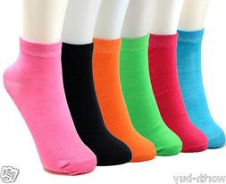New Lot 12 Pairs Womens Girls Ankle Socks Multi Neon Colors