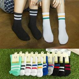 New Women Girl Cotton Fashion Sport Striped High Socks Hosie