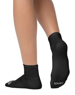 New Women's Hanes 6 Pairs Cool Comfort Cushioned Black Ankle