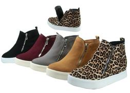 NEW Women's Stylish Round Toe Hidden Wedge Sneaker Ankle Boo