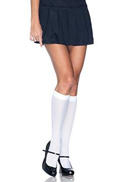 Leg Avenue Women's Nylon Opaque Knee Highs Hosiery, White, O
