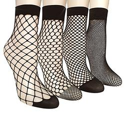 Pack of 4/5 Women's Lace Fishnet Sheer Ankle Dress Socks - S