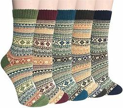 Pack of 5 Womens Winter Socks Warm Thick Knit Wool, MultiCol
