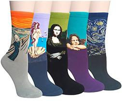 Chalier 5 Pairs Womens Famous Painting Art Printed Funny Cas