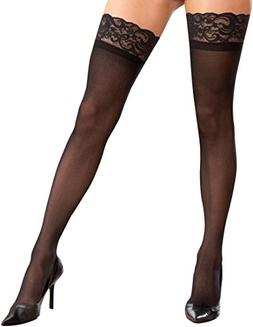 Dreamgirl Women's Plus Size Sheer Thigh High Socks, Black, O
