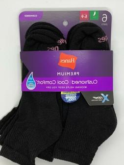 Hanes Premium Cushioned Cool Comfort 6 Pair Black Ankle Sock