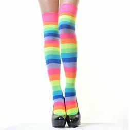 Rainbow Women Socks Multi-color Pride Soccer Striped Knee Hi