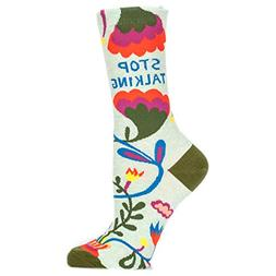 "Blue Q Socks : ""Stop Talking"" Women's Crew Socks. Size 5-10"
