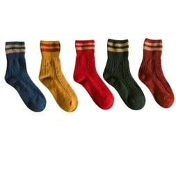 Socks for Women Cotton Soft Warm Colorful Mustard Striped Pa