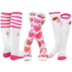 TeeHee Breast Cancer Awareness Cotton Knee High Socks for Wo
