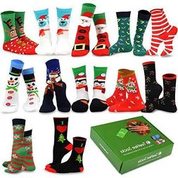 TeeHee Christmas Holiday 12-Pack Gift Socks for Women with G