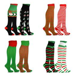 TeeHee Christmas Holiday Fun Over the Knee High Socks for Wo