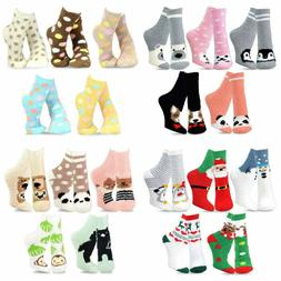 TeeHee Fashionable Cozy Fuzzy Slipper Crew Socks Girl Women