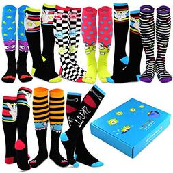 TeeHee Special  Women Knee High 9-Pairs Socks with Gift Box