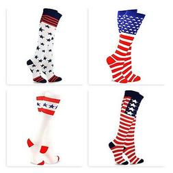 TeeHee USA American Flag Men/Women's Knee High Socks  2 Pair