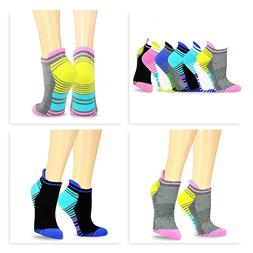Teehee Women Cushioned Low Cut No Show Sport Socks 6-Pack Cu