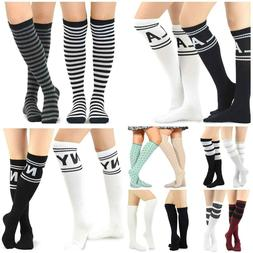 Teehee Women's Fashion Cotton Knee High Socks - 2 Pairs Pack