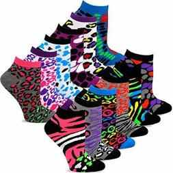 TeeHee Women's Fashion No Show Socks 12 Pairs Packs Animal C