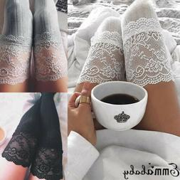 US Women Over The Knee Socks Lace Plain Leggings Long Thigh