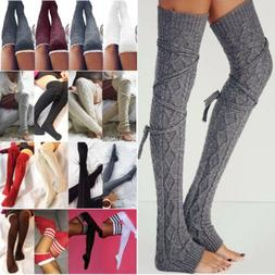 Women Cable Knit Long Boot Socks Over Knee Thigh High Warmer