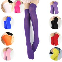 Women Candy Color Neon Sexy Thigh High Stockings Thin Over K