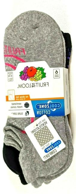 Fruit of The Loom Women Cool Zone No Show Tab Socks 6-Pair S