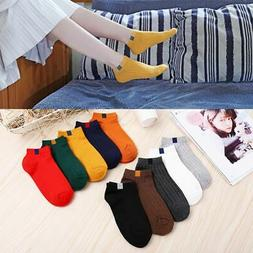 Women Cotton Solid Ankle Socks Soft Solid Short Sport Casual