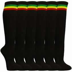 Women Cute Black Rasta Stripes Tube Knee High Socks