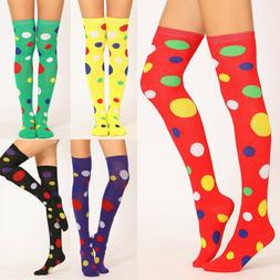 Women Girl Long Over Knee Color Dots Cotton Socks Thigh High
