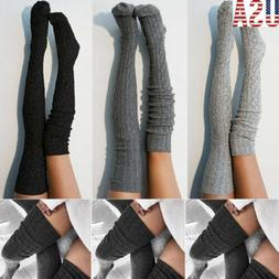 Women Girls Cable Knit Extra Long Boot Socks Over Knee Thigh